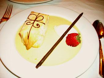 Warm valrhona chocolate 'gift', crème anglaise