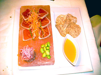 Seared sashimi and spicy tartare of yellowfin tuna, served in a block of sea salt
