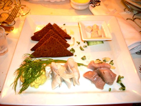 toast, rotten shark, herring 3 ways