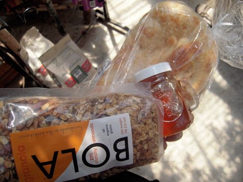 granola, EatLocalHoney.com honey, and a locally made ciabatta