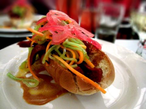 Ponzu-braised banh mi dog, cucumber carrot salad, sweet soy aioli ...