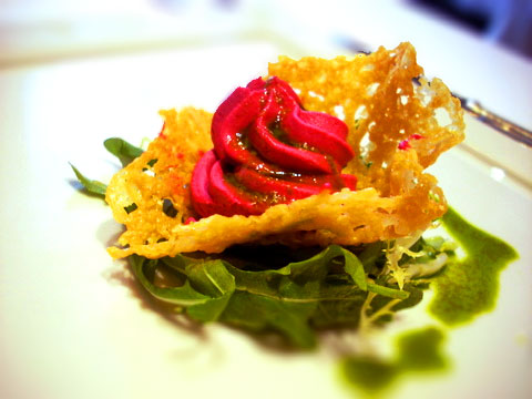 Beet mousse and parmesean crisp from L'Espalier's $24 3-course lunch, M-F (photo taken spring last year)